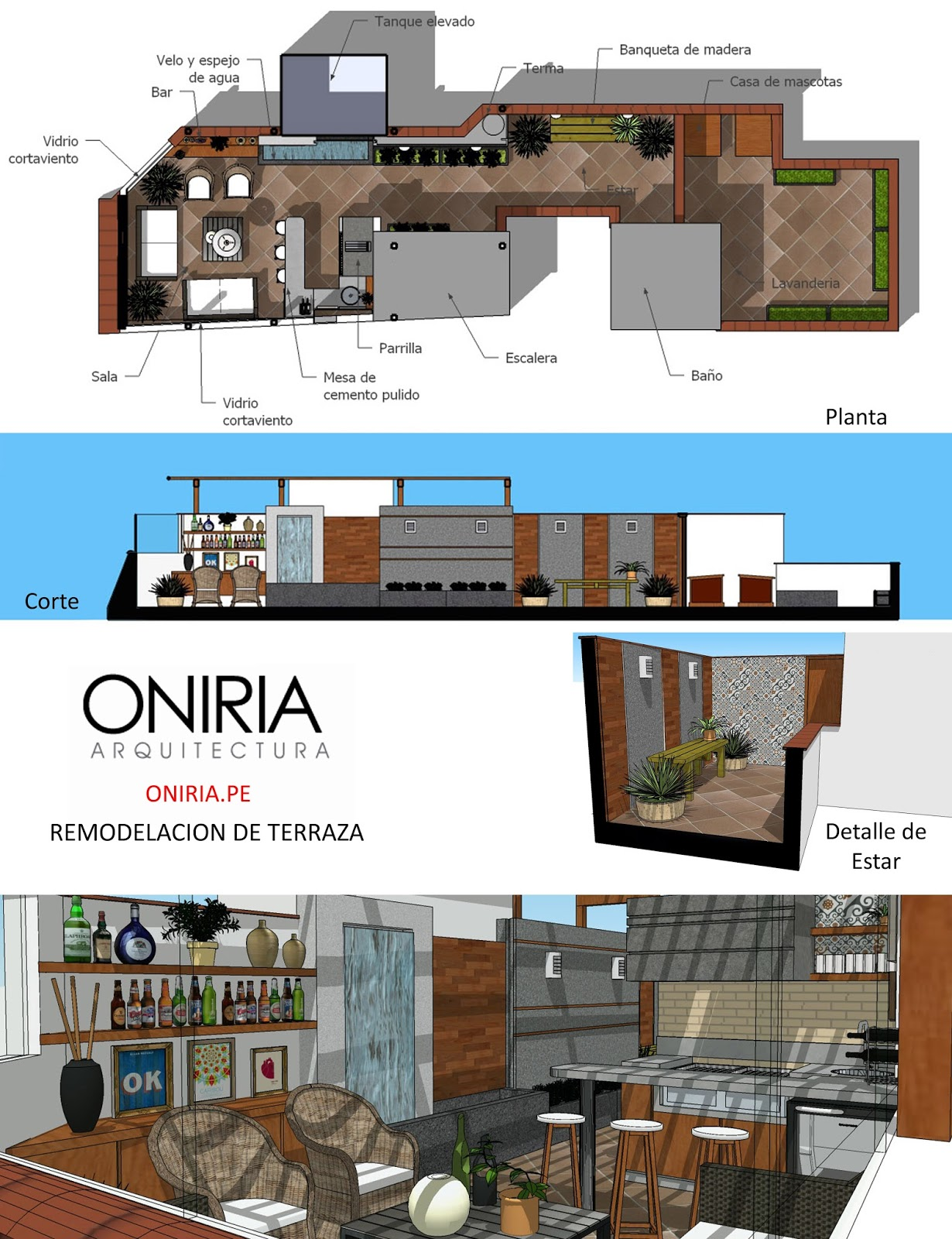 Oniria dise o de terraza y parrilla en azotea for Parrilla para la casa