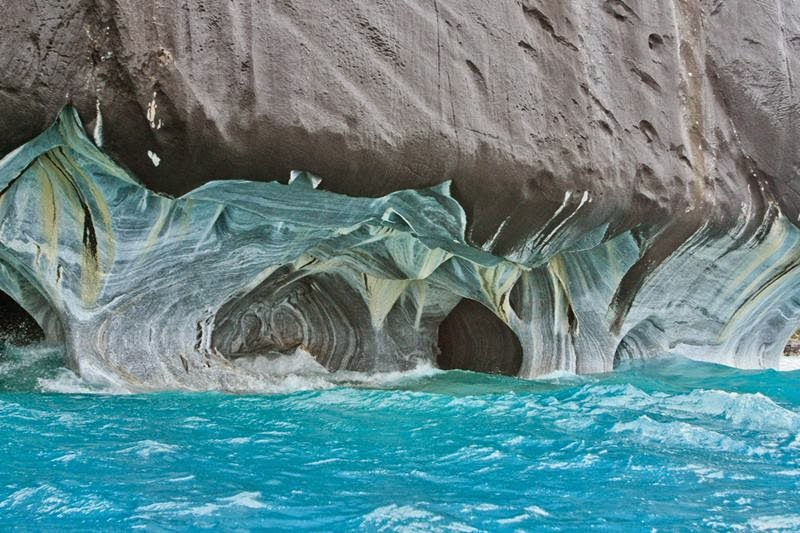 Marble Caves of  Patagonia, South America —  Patagonia lake is the deepest lake in South America and famous for its trout and salmon fishing. The lake is shared by two countries Argentina and Chile. Lake Buenos Aires Argentina side  and The General Carrera Lake Chile side.