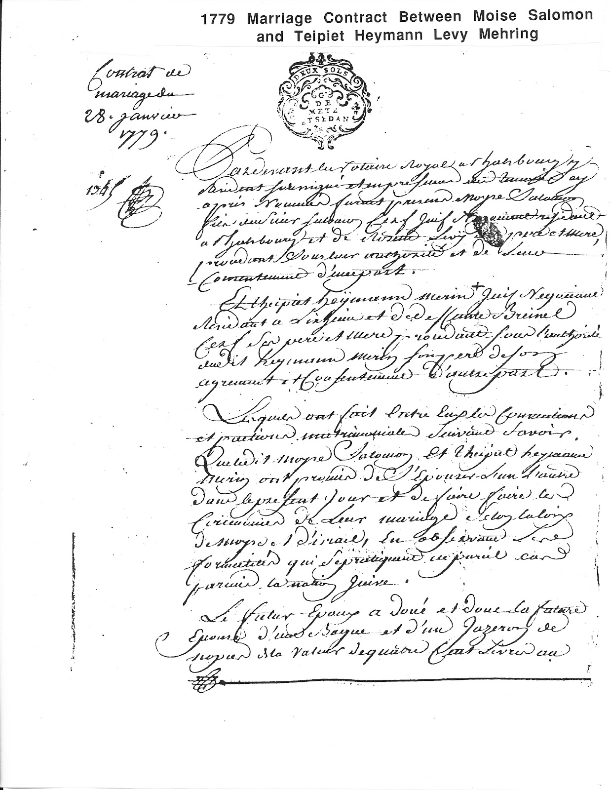 Cerf ancestry 1779 marriage contract page one altavistaventures Choice Image