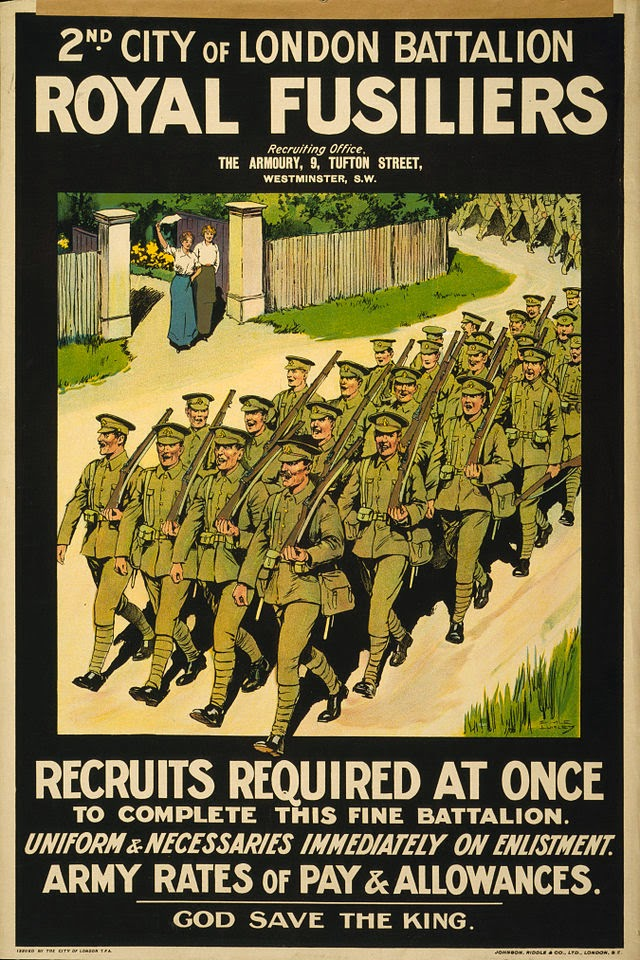 Recruiting Poster for the 2nd (City of London) Battalion of the London Regiment (Royal Fusiliers). (From WWI Propaganda Posters)