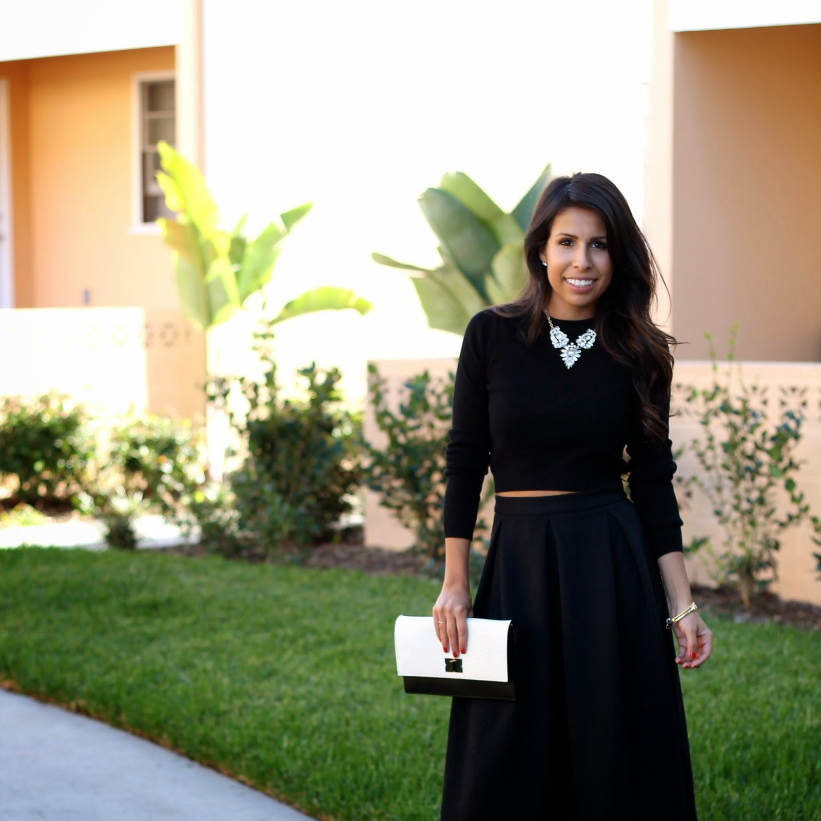 holiday outfit, black midi skirt, how to wear a crop top, all black holiday style
