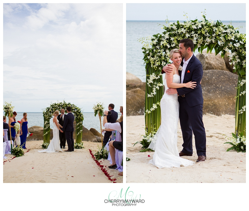 Bride and groom kiss, wedding ceremony Koh Samui, Beach Republic