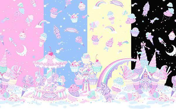 pizza-kei cute pizza kei lolita fashion sweet milky planet angelic pretty lolita 52 fyeahlolita space print favorite ice cream pastel japan japanese fashion kawaii pink yellow blue lavender skirt JSK set OP dreaming of lolita replica MP AP 2010 alternative fashion