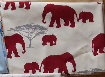 Fabric with elephant print