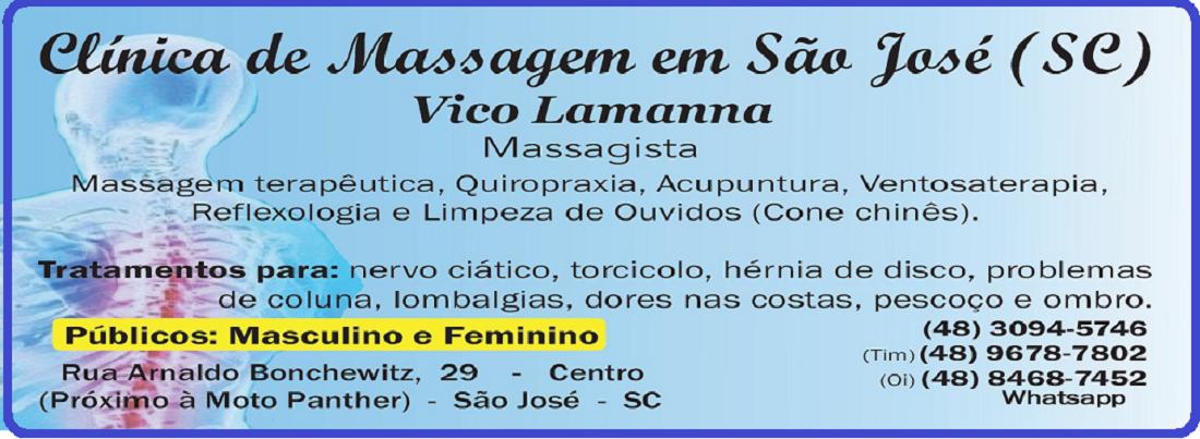 Massagem Terapêutica em São José SC, Vico Massagista:  Massoterapia, Quiropraxia e Acupuntura