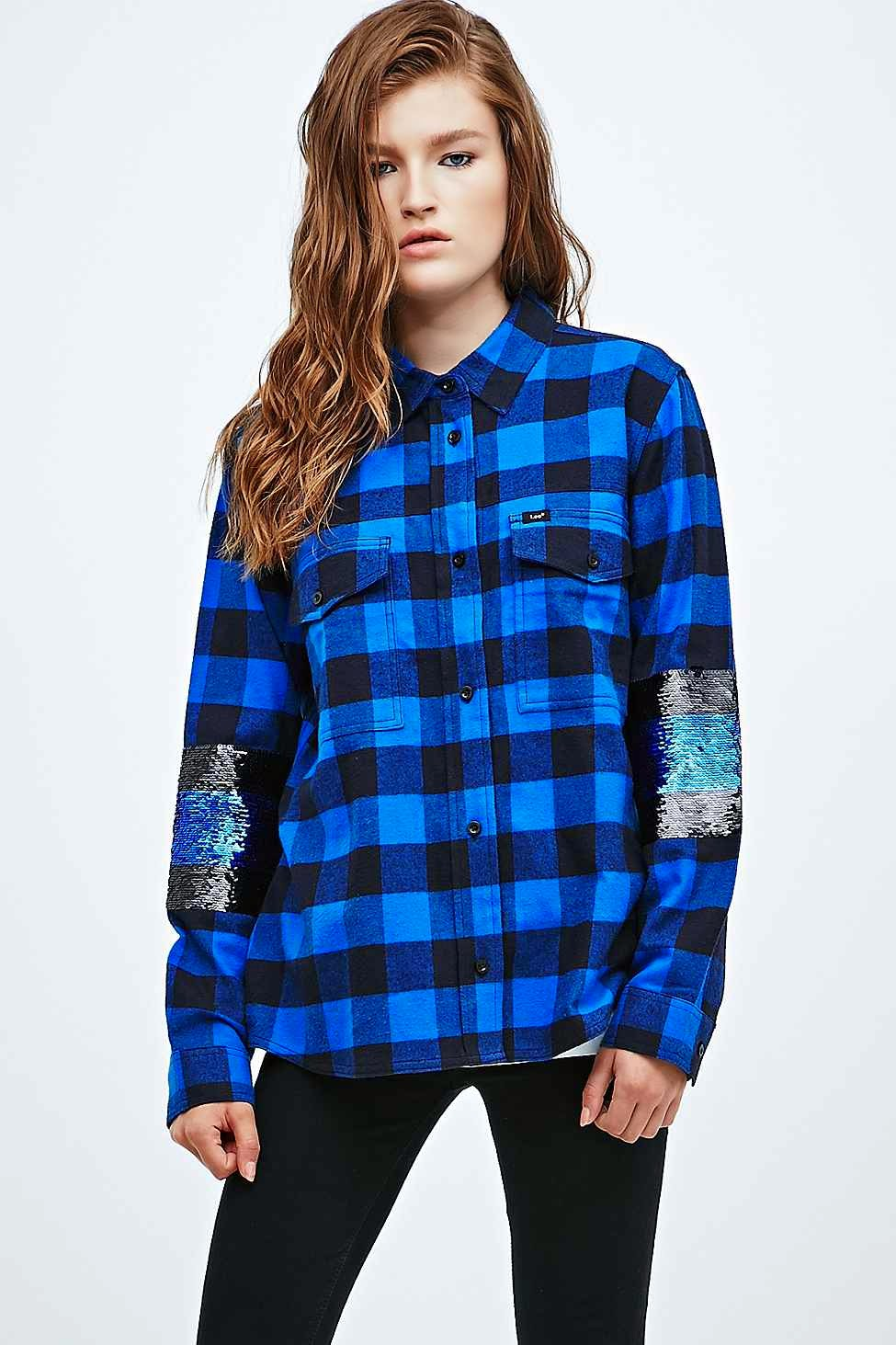 blue check shirt, urban outfitters check shirt with sequins,