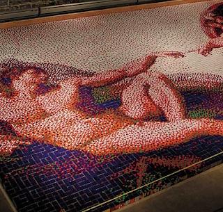 creación de Adán con 12.090 cubos de Rubik