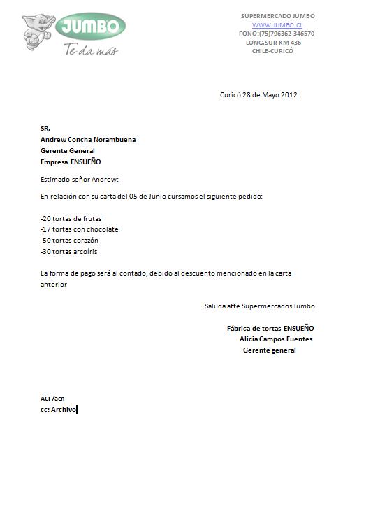 Carta de pedido | Redacción y aplicación xD
