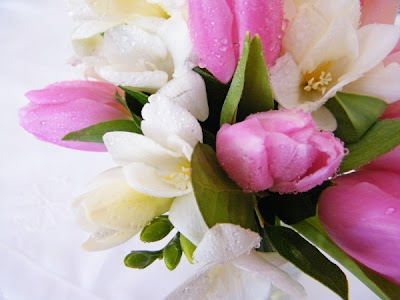BOUQUET BLISS Tulips Freesia and Anemones Winter wedding flowers