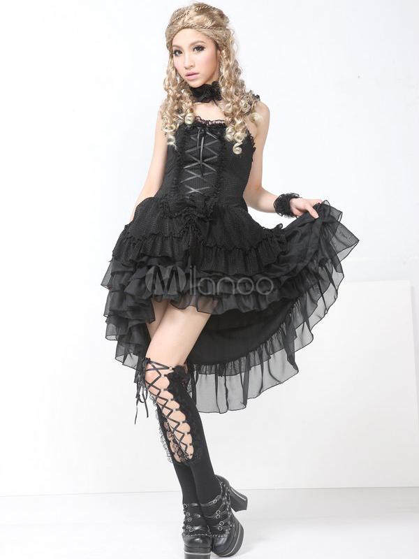 Punk Black Ruffles Straps Neck Drawstring Cotton Blend Lolita Jumper Skirt