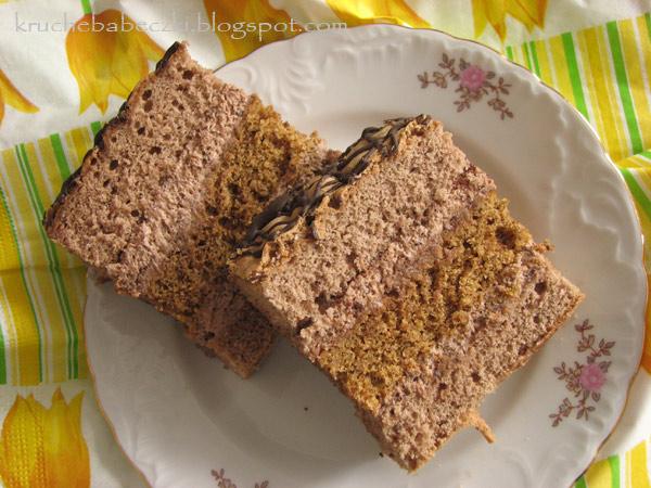 Ciasto kakaowo - orzechowe z pyszną masą :)