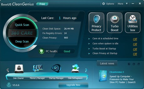 EaseUS CleanGenius Free 3.2 - User Interface