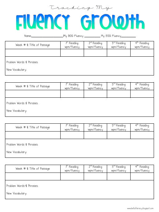 Tracking My Fluency Growth Hello Literacy – Reading Fluency Worksheets