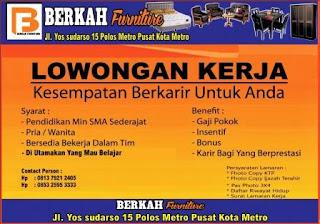 Lowongan Kerja BERKAH FURNITURE Metro, Lampung
