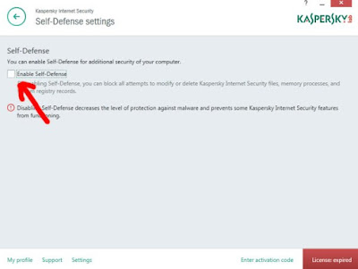 Menghilangkan ceklist Enable Selft Defense Kaspersky