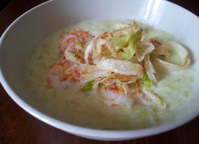 zuppa di porri e gamberi
