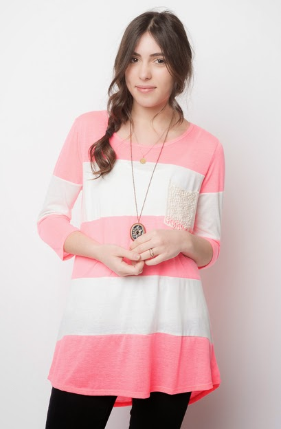 Buy online RUGBY STRIPED CROCHET POCKET TUNIC for women on sale at caralase.com