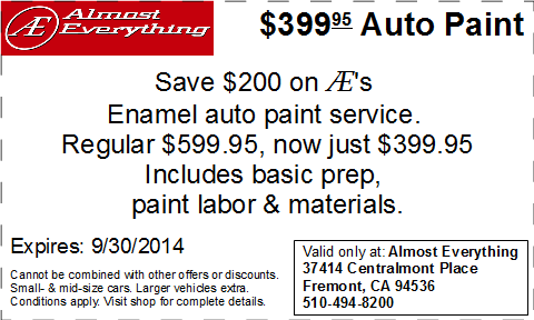 Coupon Almost Everything $399.95 Car Paint Sale Septemter 2014