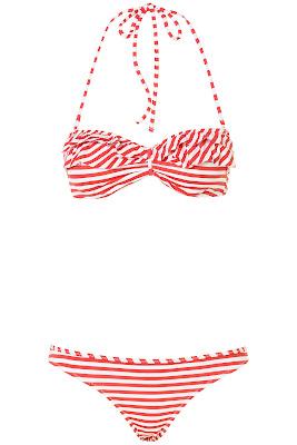 bikini vintage, bikini de rayas rojas y blancas, bikini de rayas