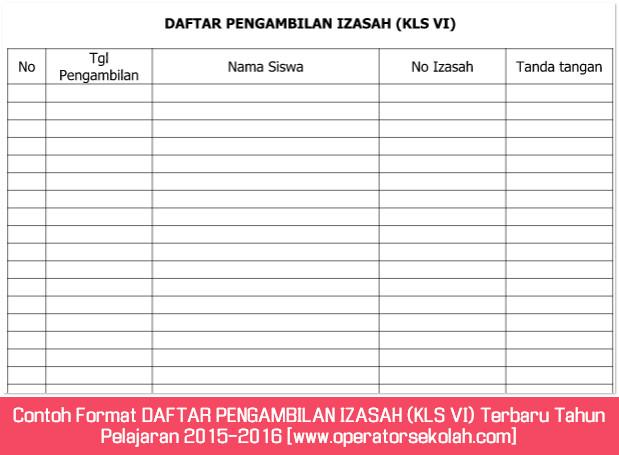 Contoh Format DAFTAR PENGAMBILAN IZASAH (KLS VI) Terbaru Tahun Pelajaran 2015-2016 [www.operatorsekolah.com]
