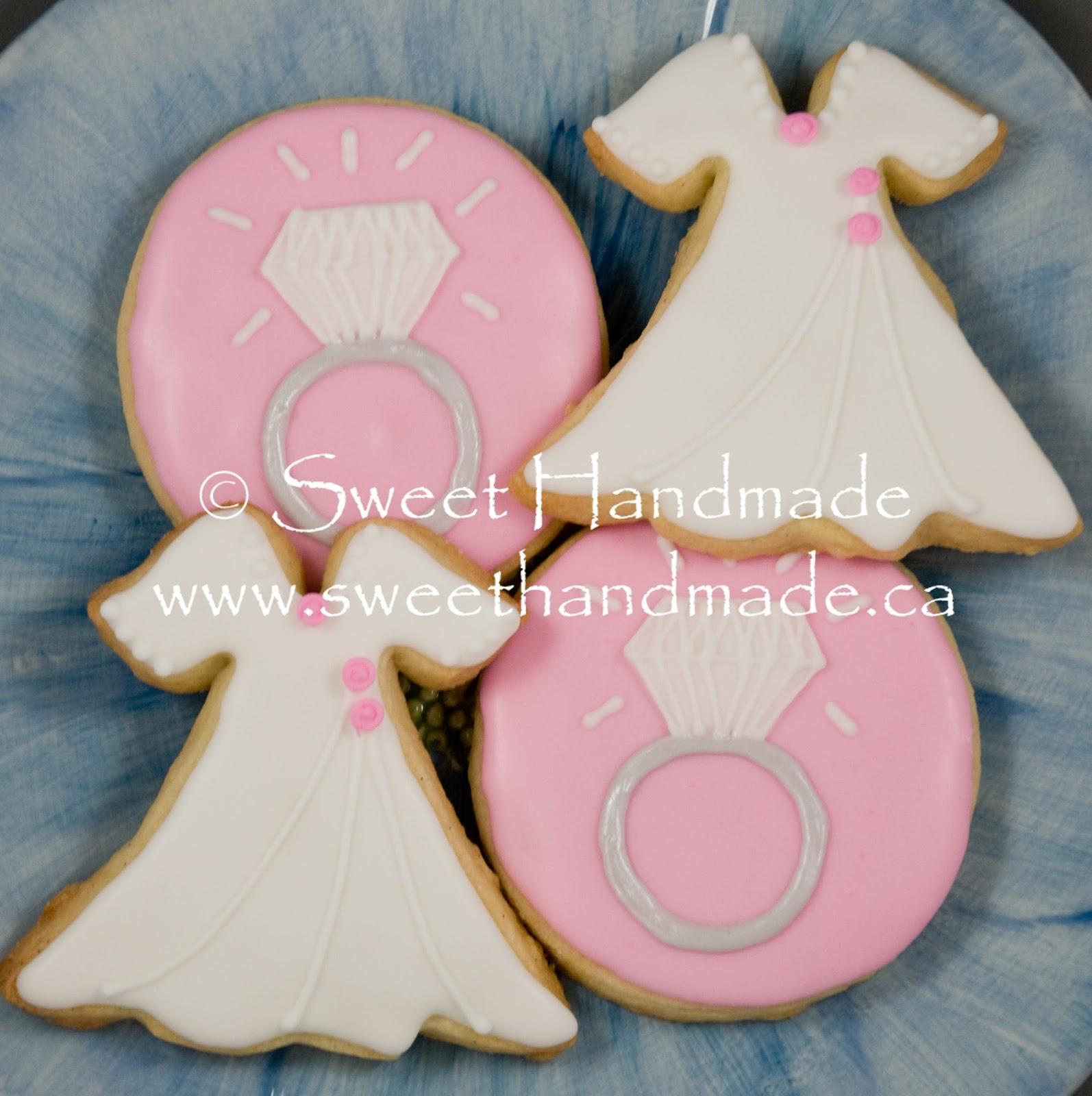 Sweet Handmade Cookies: Diamond Ring and Dress Bridal Shower Cookies