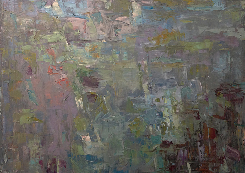 Abstract expressionist landscape painting by artist Karri McLean Allrich, titled Current. Water, reflections, sky in oil and cold wax on canvas.