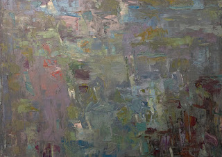 Abstract oil painting by Karri McLean Allrich 30x40 Current