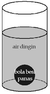 Bola besi dan air merupakan sistem yang diamati. Adapun, udara luar merupakan lingkungannya.