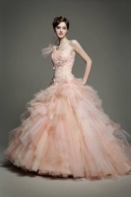 Honey Buy Pink One Shoulder Diamond Tulle Wedding Dress