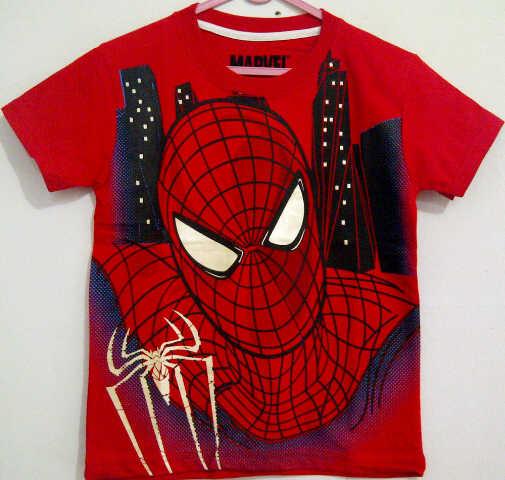 Baju Anak Karakter Spiderman Kota Merah Size 1 - 6 Y