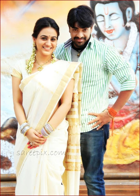 Aksha in traditional saree with Rey Rey movie hero