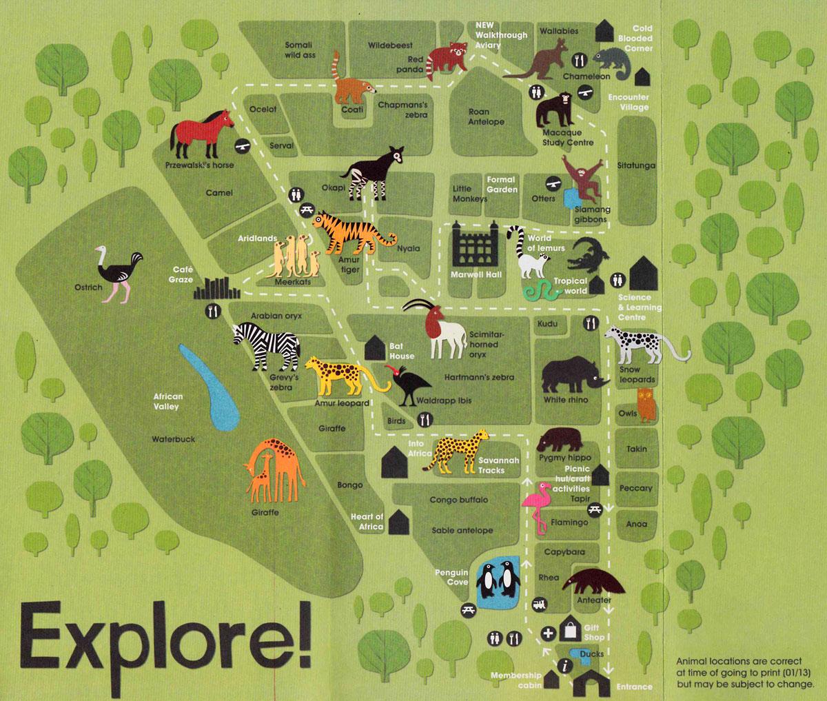 Rebecca Sutherland Marwell Zoo Animals and Map