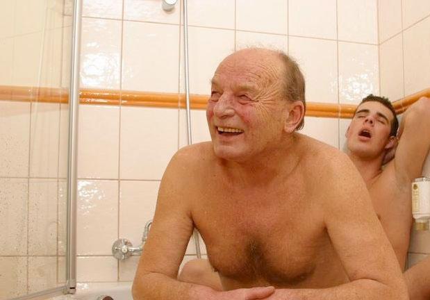 Old young men sex in bathtub Men caught nude
