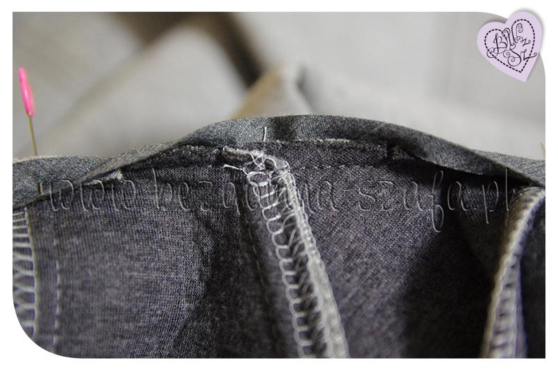 płaszcz z pianki dekolt lamówka cieniowanie szwu