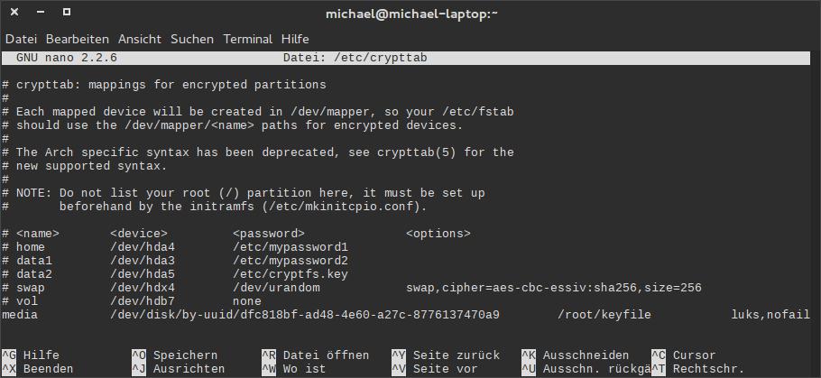 Eine Beispielhafte Crypttab Konfiguration (Klicken Zum Vergrößern)