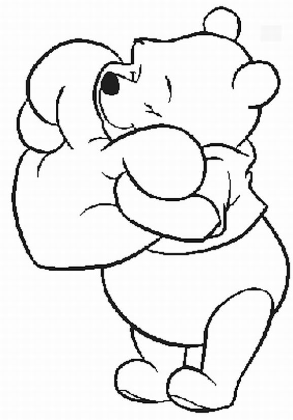 pooh valentine coloring pages picture 1