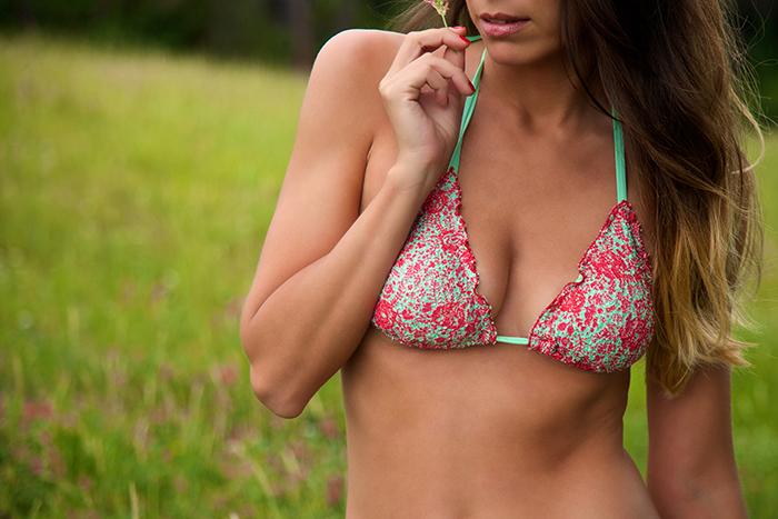 bikini triangolo rosa verde