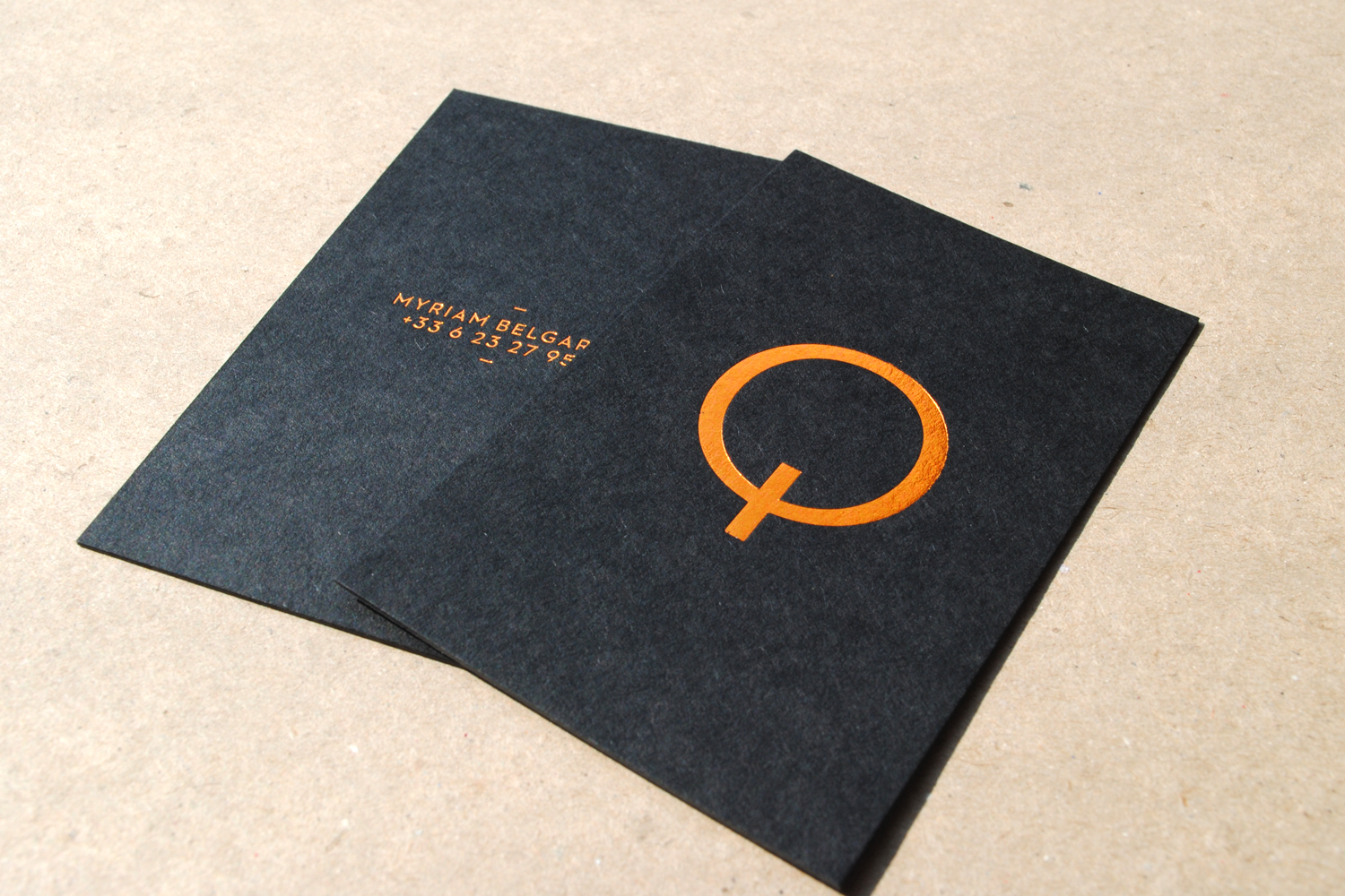 Ebony and Mist business cards with copper foil...   Hot Foil ...