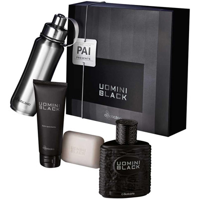 O Boticário Uomini Black kit desodorante colônia balm apos barba sabonete perfumado cantil