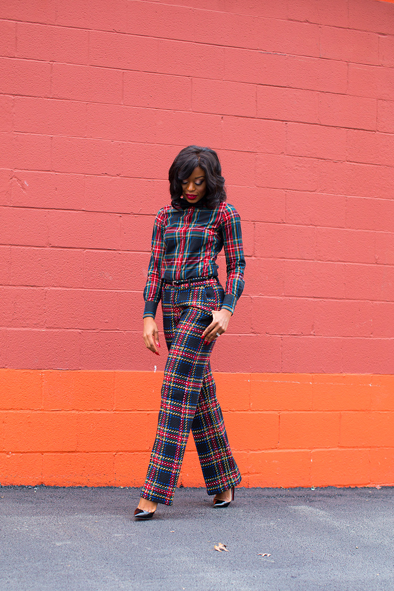 plaid on plaid mix,  www.jadore-fashion.com
