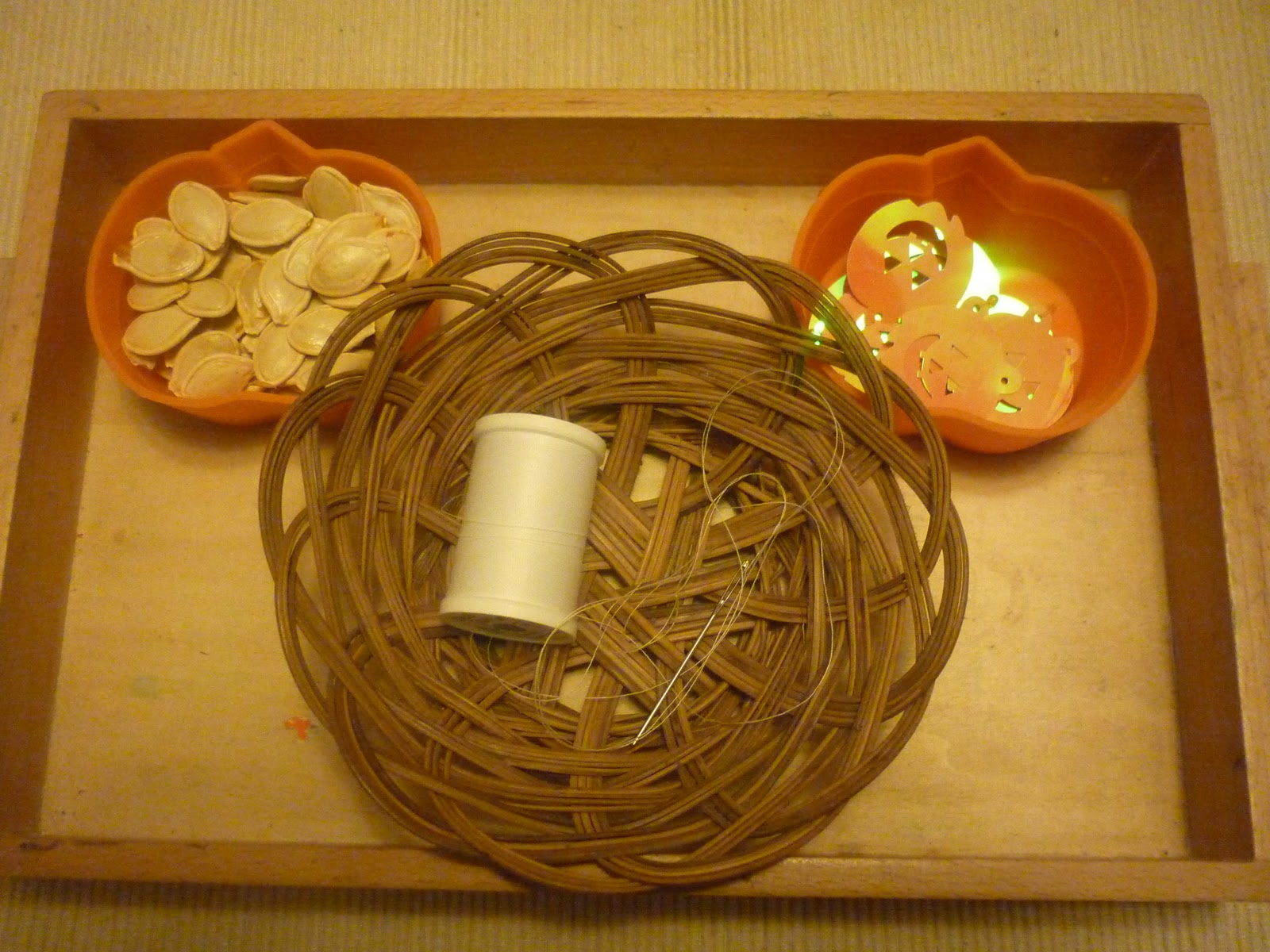 Pumpkin Seed Necklace Activity (Photo from The Work Plan)