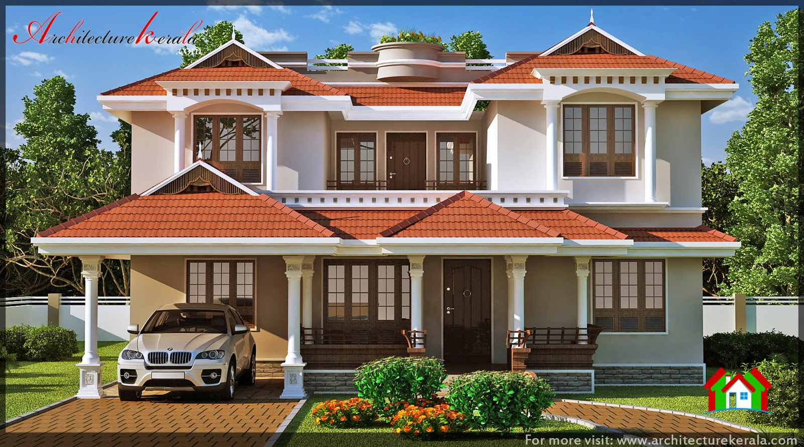 Traditional kerala house elevation architecture kerala for Kerala style home designs and elevations
