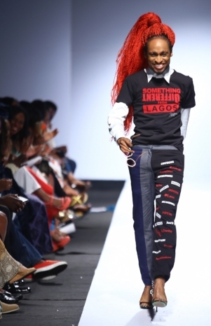 Denrele Edun rocks stilletos on the runway like one of the girls