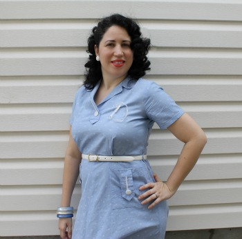 1950's Cotton Blue Dress