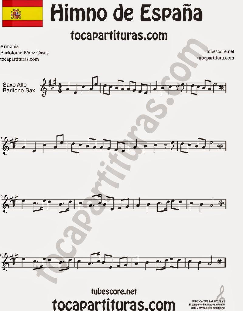Himno Nacional Español Partitura de Saxofón Alto y Sax Barítono Sheet Music for Alto and Baritone Saxophone Music Scores