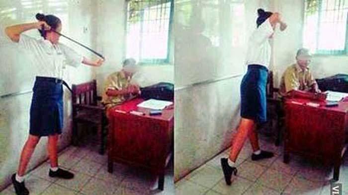 Foto Siswi SMP Lecehkan Guru