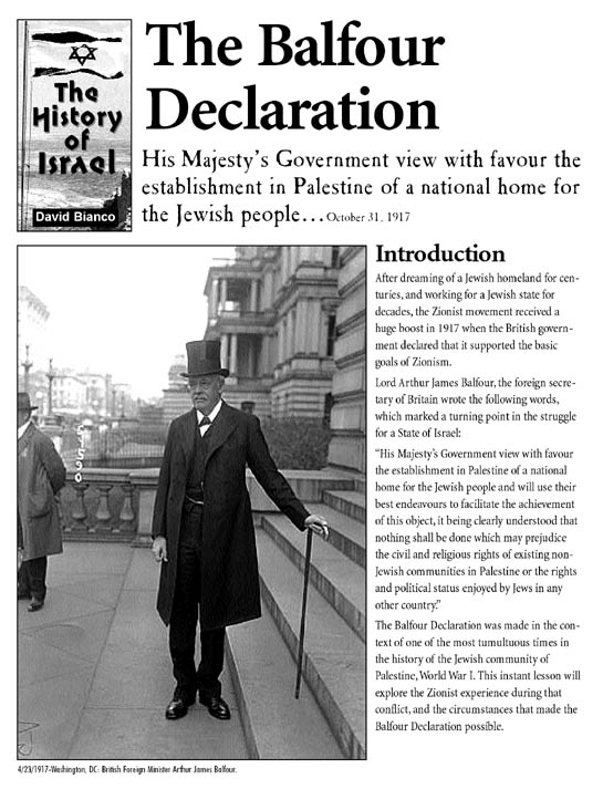 "the balfour declaration Issued in london in 1917, the balfour declaration was one of the key documents of the twentieth century it committed britain to supporting the establishment in palestine of ""a national home for the jewish people,"" and its reverberations continue to be felt to this day."