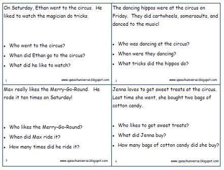 narrative essay comprehension questions