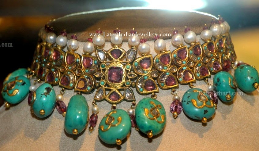 Turquoise Drops Gold Choker Necklace