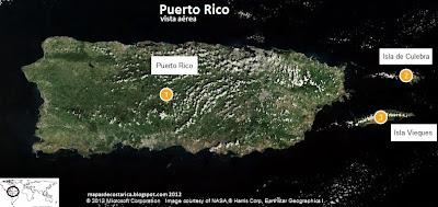 Mapa de Puerto Rico, vista aérea